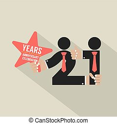 21 Years Anniversary Typography Design Vector Illustration