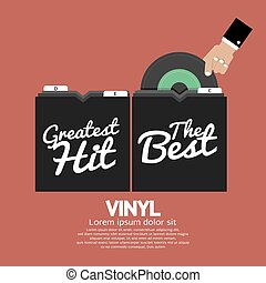 Hand Pick Up Vinyl From The Box Vector Illustration