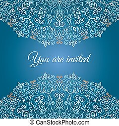 Blue Decorative Invitation - Vector Mandala Invitation Card...
