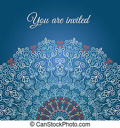Blue Mandala Invitation - Vector Mandala Invitation Card...