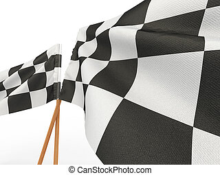 Finishing checkered flag 3d