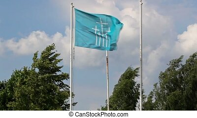 Blue flag with variety of crosses
