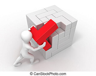 Men with a cube built from blocks. Puzzle. 3d