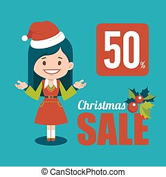 Christmas discount, sale holiday banner. - Christmas...