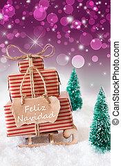 Vertical Sleigh On Purple Background, Feliz Navidad Means...