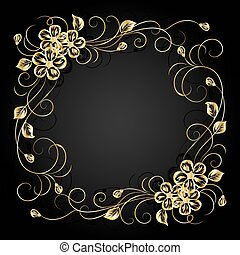 Gold flowers with shadow on dark background. Vector...