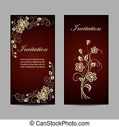 Set of invitation cards design. Gold flowers on dark red...