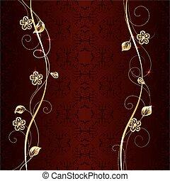 Gold floral pattern on dark background. - Gold floral...