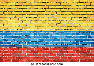 Flag of Colombia on a brick wall