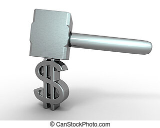 Hammer with sign dollar