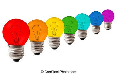 muitos, lâmpadas, cor, arco íris, colagem