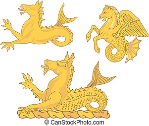 Set of heraldic sea horses Vector illustrations