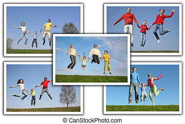 many photos with jumping families, collage