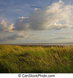Looking across Humber Estuary to Sp - View of Spurn Head /...