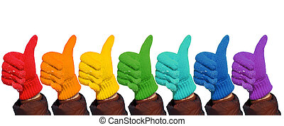Hands in rainbow gloves show gesture ok on white, collage