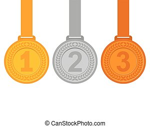 Gold, silver and bronze medals for the winners of the...