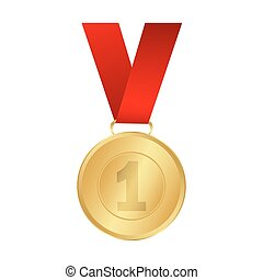 Gold medal winner of the prize-winner on a red ribbon vector...
