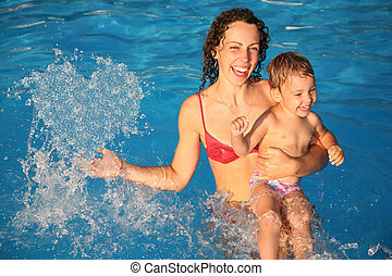mother in water with child makes heart with drops, collage