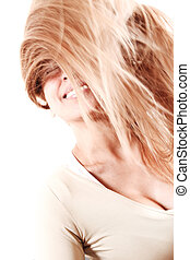 Girl throwing hair - Beautiful young blond woman throwing...