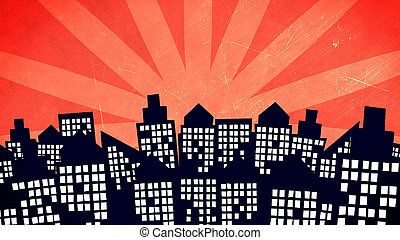 cartoon city buildings - Illustration of a cartoon city...