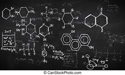 Chemical formulas on black - Chemical formulas written on...