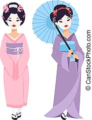 Vector japanese geisha girl - Vector kokeshi doll japanese...