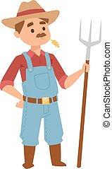 Farmer man vector illustration. - Happy smiling caucasian...
