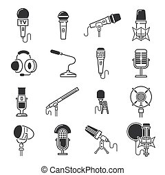 Vector microphone icons. - Vector black microphone icons set...