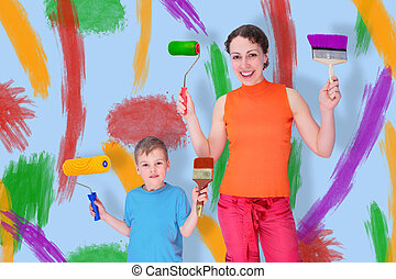 son and mother draw with rollers and brushes on a wall, collage