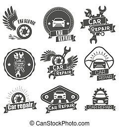 Vector set of auto service labels in vintage style. Car repair shop banners. Mechanic tools isolated on white background.