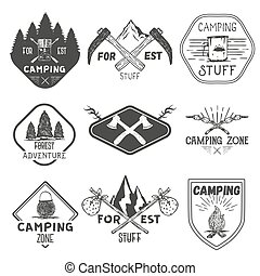Vector set of camping labels in vintage style. Design elements, icons. Camp outdoor adventure concept illustration.
