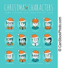Christmas Set of avatars your office team.