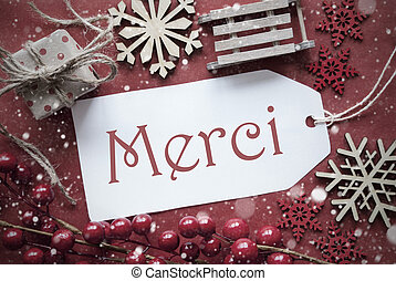 Nostalgic Christmas Decoration, Label With Merci Means Thank...