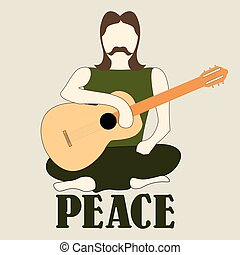 Vector illustration of cross-legged Hippie man with guitar -...
