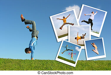 Jumping man in grass and photographs of the people, collage...