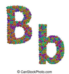 letter B made from bromeliad flowers isolated on white...