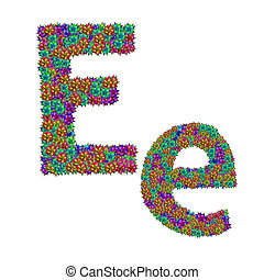 letter E made from bromeliad flowers isolated on white...