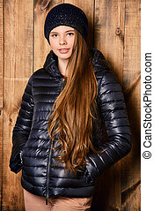 black jacket and hat - Trendy girl teenager in demi jacket...
