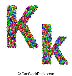 letter K made from bromeliad flowers isolated on white...