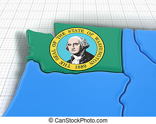Map of Washington state with flag. Image with clipping path.