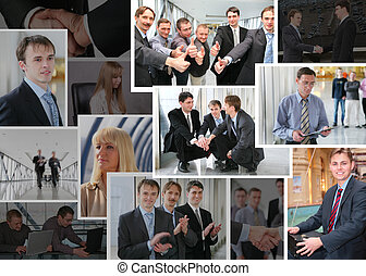 Collection of many business photos with people, collage