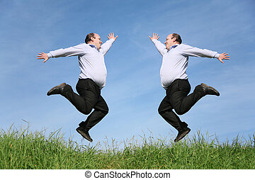 jumping fat twins on grass collage