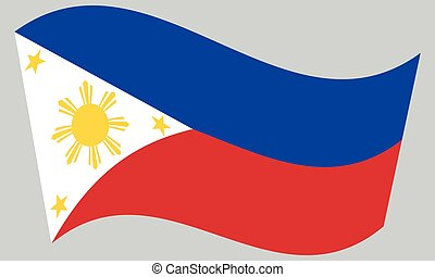 Flag of the Philippines waving on gray background....