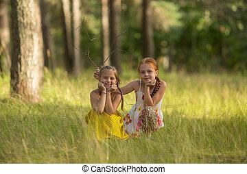 Two girls kids posing