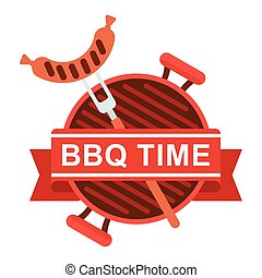 bbq logo grill pan fork - Cartoon flat vector illustration....