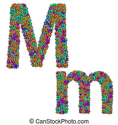 letter M made from bromeliad flowers isolated on white...