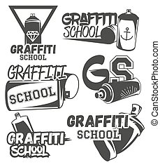 Vector set of graffiti school labels in vintage retro style...