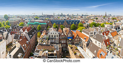 Panorama of residential areas in Amsterdam. Aerial view. Holland, Netherlands.