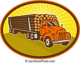vintage logging truck - illustration of a vintage logging...