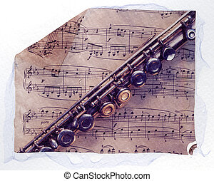 flute and sheet music - Flute and sheet music. Polaroid...